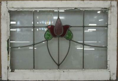 "MIDSIZE OLD ENGLISH LEADED STAINED GLASS WINDOW Nice Floral Sweep 26.5"" x 18.5"""