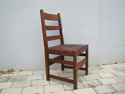 SUPERB nice ANTIQUE L&jG Stickley chair with original leather and tacks w5408
