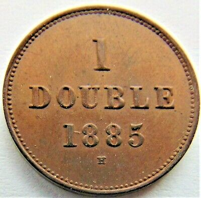 1885 H GUERNSEY 1 Double, lustrous grading UNCIRCULATED.