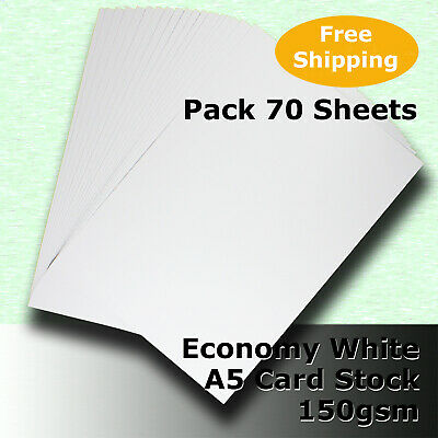 70 Sheets Economy WHITE 150gsm A5 Size Card Stock General Purpose #H5105 #DLHH