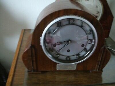 German Vintage Art Deco 8 Day Westminster Chime Mantle Clock V G C Inscribed