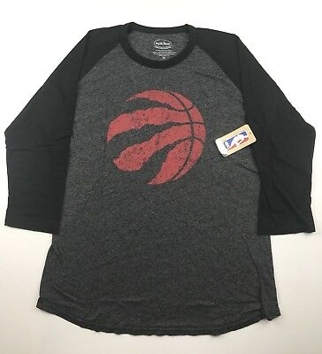 Majestic Toronto Raptors NBA Mens XL Gray Black Majestic 3/4 Sleeve T Shirt NWT