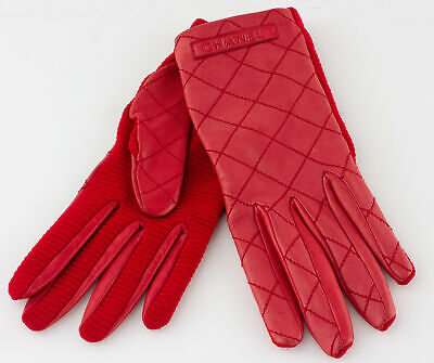 CHANEL Red Leather Quilted Gloves Size 7.5