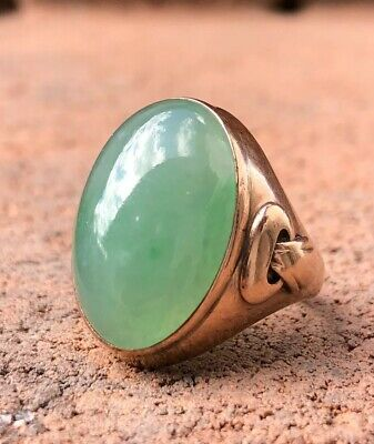 "Old Chinese ""A"" Jade Bright Imperial Green Water Ice Jadeite 14K Rose Gold Ring"