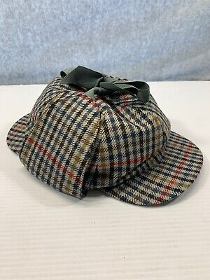 VINTAGE Sherlock Holmes Deerstalker Hat Dunn & co Great Britain Houndstooth XL