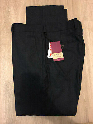 Chester Barrie Semi Plain Milled Wool Tailored Suit Trousers, Navy, 34S, RRP 135
