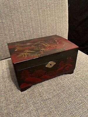 Vintage Oriental Asian Black Laquer Hand Painted Musical Jewelry Box As Found