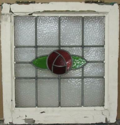 "OLD ENGLISH LEADED STAINED GLASS WINDOW Stunning Mackintosh Rose 19.25"" x 20"""