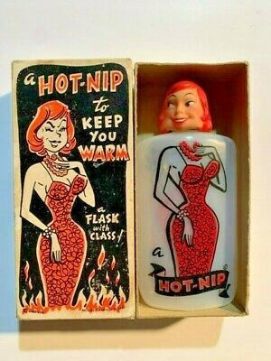 "VINTAGE 1950's  ""HOT-NIP"" PLASTIC HIP POCKET FLASK in Original Box Barware"