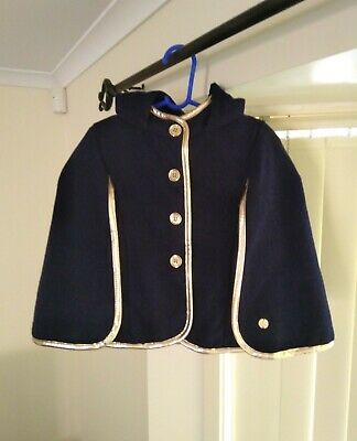 Sista navy gold girls cape Jacket coat hood size 4 BNWOT