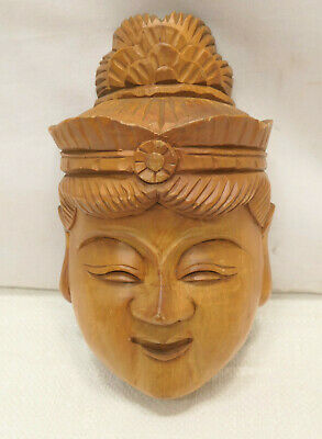Vintage Mask Wooden Japanese Hand Made Theatrical Display Lucky God #252