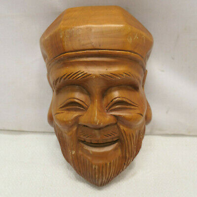 Vintage Mask Wooden Japanese Hand Made Theatrical Display Lucky God #255
