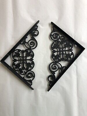 "Pair Of Antique Early 1900's Shelf Brackets Wrought Iron 6"" By 8"" Tulip Pattern"
