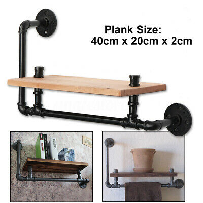 Vintage Style Wall Mounted Shelf Industrial Pipe Wooden Floating Storage Rack
