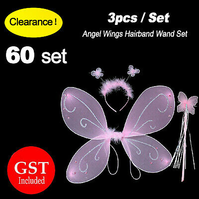 Clearance!60 set Fairy Wings Hairband Magic Wand Butterfly Angel Girl Dress up