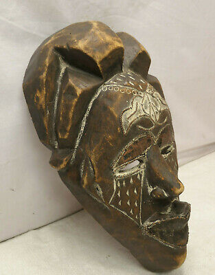 Vintage Mask Wooden Copper Japanese Tribal Hand Made Display Wall hanging #258