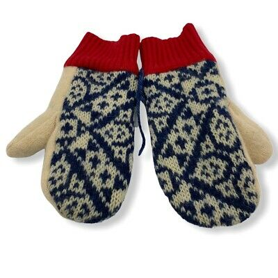 Womens Handmade Recycled Wool Sweaters Fleece Lined Mittens Med 8 Ivory Blue Red