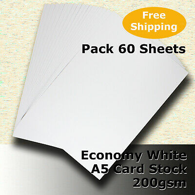 60 x Economy 200gsm WHITE A5 Size Card Stock  General Purpose #H5205 #DLHH