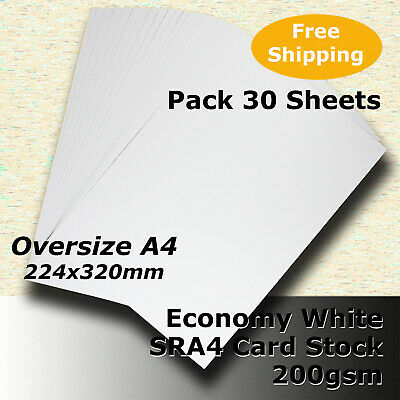 30 x Economy 200gsm WHITE SRA4 224x320mm Size Card Stock #H5209 #DLHH