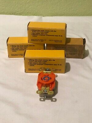Lot Of 4 Hubbell Ig2420A Orange Twist-Lock Receptacle 3P 4W Isolated Grd 20A *