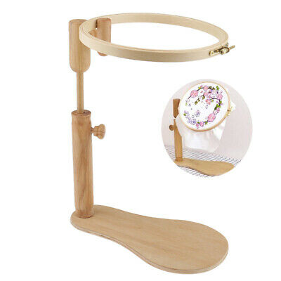 24Cm Stand Embroidery Hoop Wood Embroidery Cross Stitch Hoop Set Adjustable Desk