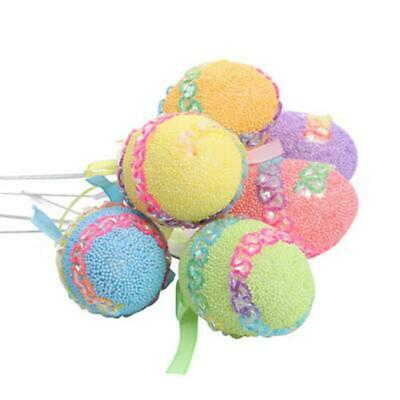 6PCS/Set Colorful Easter Foam Eggs Toys with Stick For Party DIY Decoration Kit