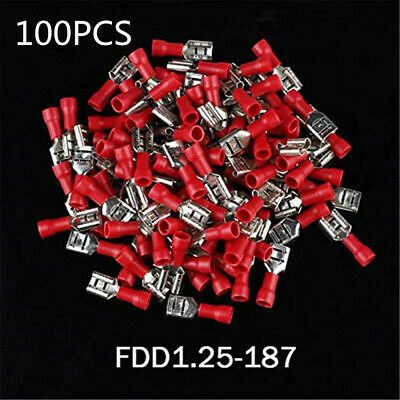 100x Female Insulated Spade Wire Connector Electrical Crimp Terminal FDD1.25-187