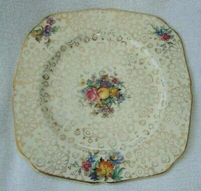 Antique Art Deco  H&K Tunstall Chintz Square Shaped Side Plate One Of Four