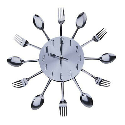 Modern Design Sliver Cutlery Kitchen Wall Clock Spoon Fork Room Home Decor Gifts