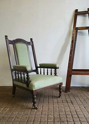 Oversized Large  Victorian  Oak Arts And Crafts  Arm Chair
