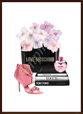 Fashion Print Wall Art Bedroom Picture Designer Perfume Shoes Decor Pink A4