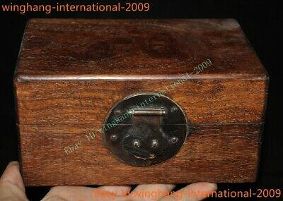 Old Chinese Dynasty Huanghuali Wood Carved grimace jewelry box jewellery boxes