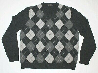 BROOKS BROTHERS Lambs Wool Sweater Men Medium M Bros Gray Argyle Diamond V-Neck