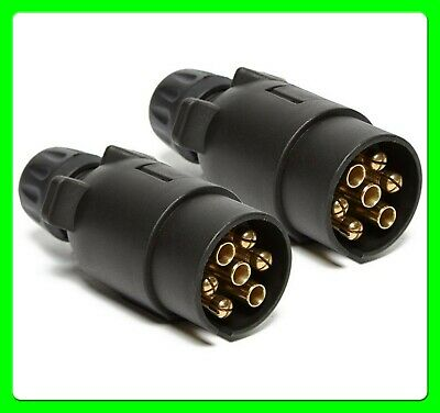 * Pack of 2 * 12N 7 Pin Towing Plug For Caravan & Trailer Black Plastic [MP021]