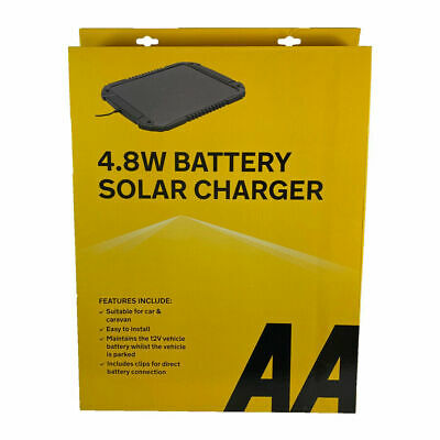 AA 4.8W  12V Camper Car  Caravan Solar Panel Trickle  XL BATTERY SOLAR CHARGER