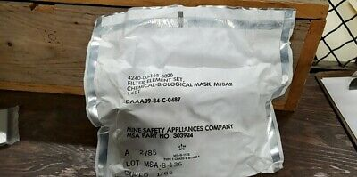 Gas Mask Filter M13A2 Chemical Biological Mask Set Of 2 NEW Military Surplus