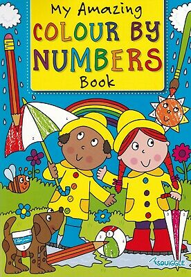 Childrens Kids Colour By Numbers Book Boys Girls (Children Cover) 30 Pictures