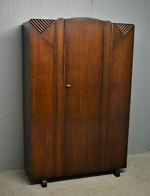 Ladies Wardrobe Art Deco Style Oak Veneer Two Hanging Rails Delivery Available