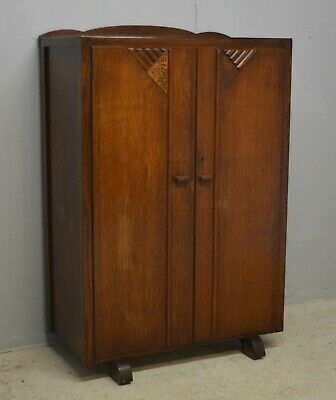 Small Tallboy Gent's Wardrobe Compartment Art Deco Oak Veneer Delivery Available