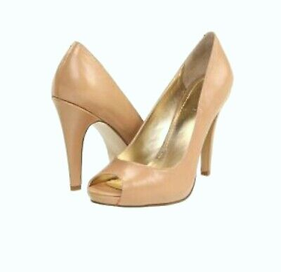 Nine West Escher Beige Leather Peep Toe Heels Pumps Womens 10.5 M