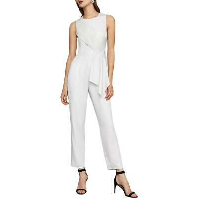 BCBG Max Azria Womens Silver Metallic Plted Cropped Jumpsuit 8 BHFO 6950