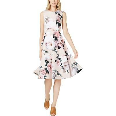 Calvin Klein Womens Floral Fit & Flare Party Cocktail Dress BHFO 5528