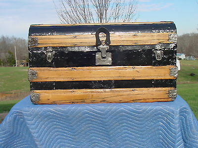 Antique Trunk  Great Restoration   Embossed Tin  Wide Slats  Circa 1880's/90's