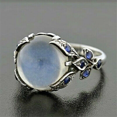 925 Silver Moonstone Gems Thin Ring Women Wedding Jewelry Party Gift Size 6-10