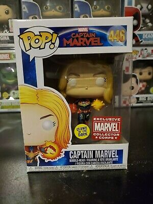 Funko Pop! Captain Marvel #446 Glow GITD Marvel Collector Corps WITH PROTECTOR!
