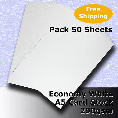 50 Sheets Economy WHITE A5 Size 250gsm Blank Card Stock G Purpose #H5305 #DLHH