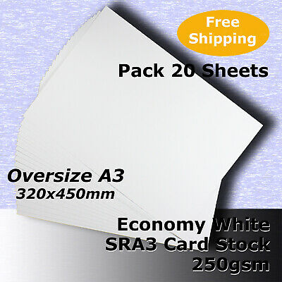 20 Sheets Economy 250gsm WHITE SRA3 Size 224x320mm Blank Card Stock #H5369 #HHHJ