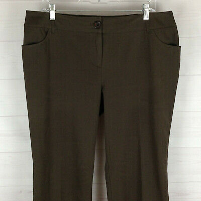 TRIBAL womens size 14P stretch solid brown mid rise flat front straight pants
