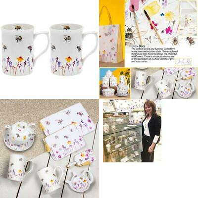 Boxed Set 2 x Mugs Pretty Water Colour Busy Bees Design by Jennifer Rose Gallery
