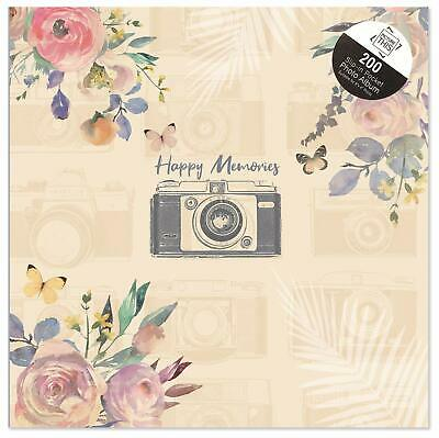 "6 x 4"" Happy Memories Design slip-in pockets to hold 200 photos For Memories"